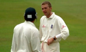 Dominic Cork stares at Brian McMillan who he dismissed twice in the match after a prolonged war of words with the South Africa all-rounder.