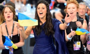 Jamala representing Ukraine celebrates as she advances to the grand final of the Eurovision Song Contest.