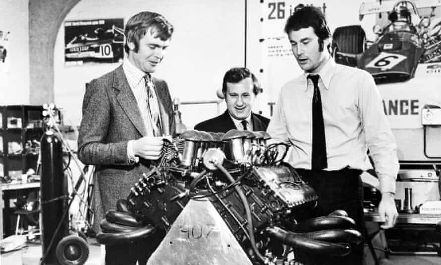 Max Mosley, Alan Rees and Robin Herd with a Ford Cosworth V8 engine