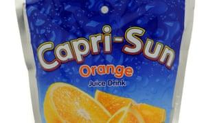A pouch of Capri-Sun orange juice drink