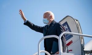 Joe Biden leaves New Castle, Delaware, en route for Michigan on Saturday.