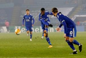 Leicester City's Kelechi Iheanacho scores their second goal.
