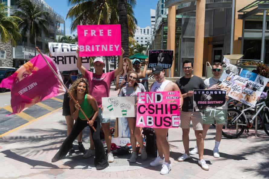 Fans hold a #FreeBritney rally in Miami Beach, Florida, on 7 August.