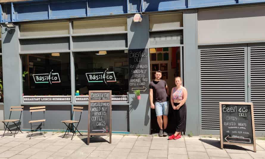 Davide De Leonardis and Stephanie Cirulli, owners of Basil and Co, in the doorway of their cafe in Bristol