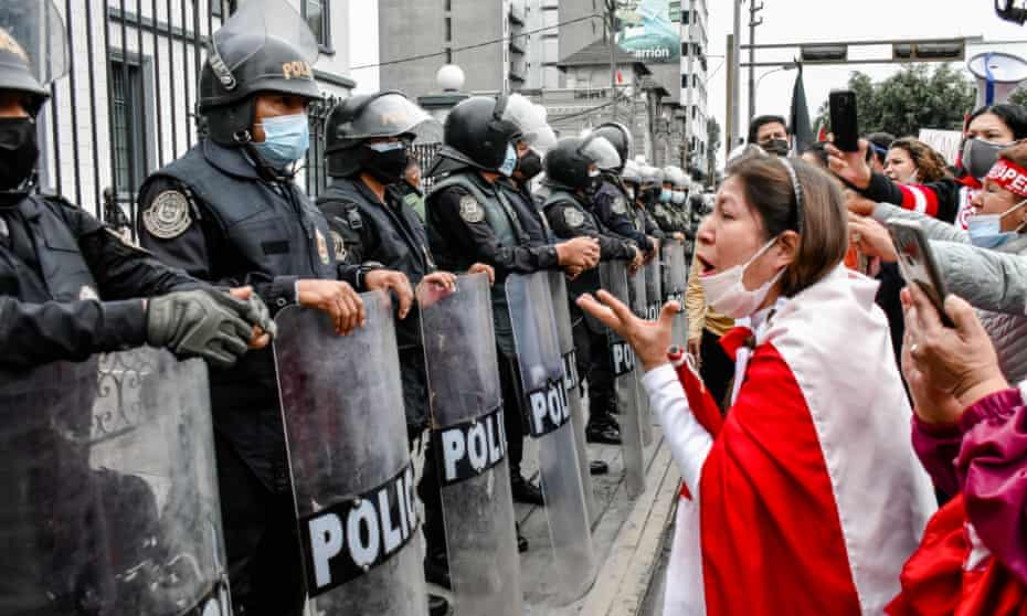 Protesters in Lima, Peru demonstrate against the election of Pedro Castillo