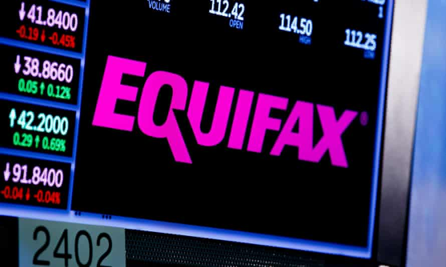 A view of a sign for the company Equifax on the floor of the New York stock exchange.