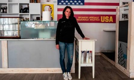 Bar owner Lara Arnodo at her closed establishment in Sestriere.