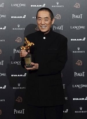 Zhang Yimou with his 2018 best director award.