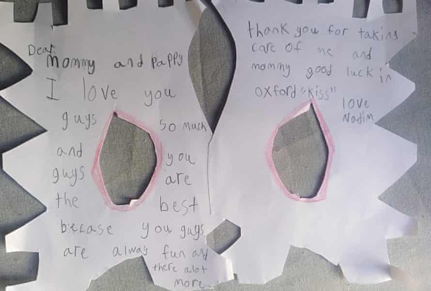 A letter from Hassam's nine-year-old son.