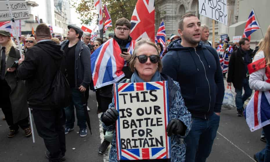 Pro-Brexit protesters demonstrating in Westminster on 31 October 2019 in London.