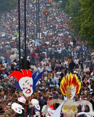Crowds fill Ladbroke Grove during Notting Hill carnival.