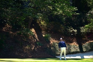 Lee Westwood reacts after a missed putt.