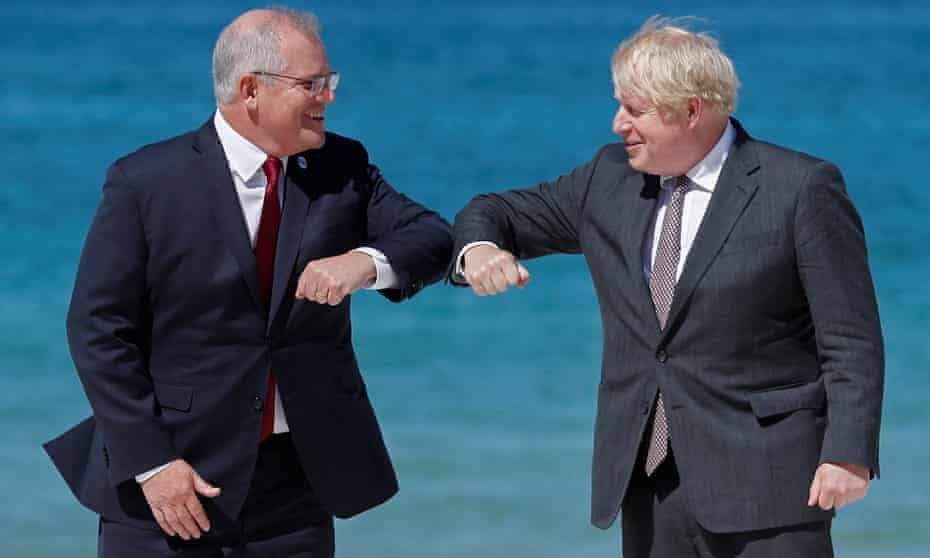 Australian prime minister Scott Morrison with his British counterpart Boris Johnson in Cornwall last week for the G7 summit. Morrison defended side trips to investigate his family history as stops 'along the way'.