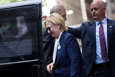 Hillary Clinton after leaving her daughter's apartment in New York
