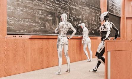 Robot women solving equations on blackboard