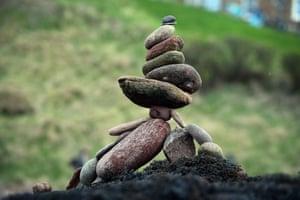 Balancing act: stacked stones at the championship.