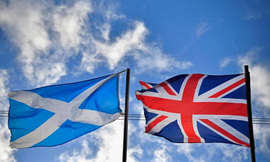 A Scottish saltire and union jack