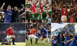 Twenty-fve years of the Premier League. Photographs: Getty Images/Rex Features. Composite: Jim Powell