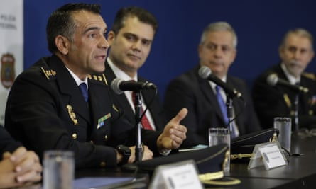 Spanish police commissioner Marcos Frias Barbens speaks during a news conference regarding the arrest of Carlos García Juliá in Sao Paulo, Brazil on 7 December.