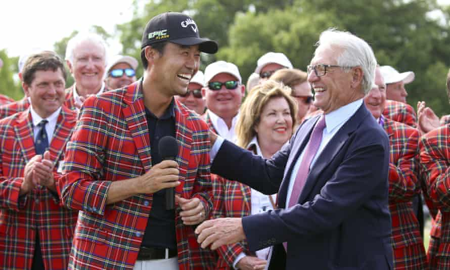 Kevin Na is congratulated after winning the Charles Schwab Challenge in 2019