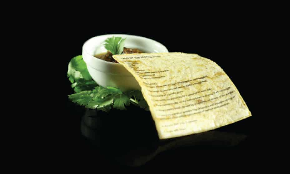 The Edible Menu: food-based ink on a tortilla.