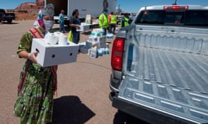 Miss Navajo Nation Shaandiin Parrish delivers food and supplies to families in need outside Monument Valley Tribal Park in Arizona.