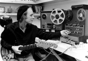Brian Eno in his studio in 1974.