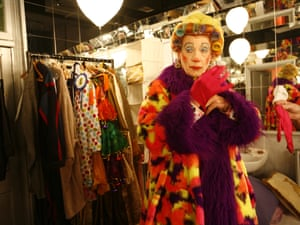 Sir Ian McKellen pictured backstage at the Old Vic in London dressing for his role as Widow Twankey in 2005.