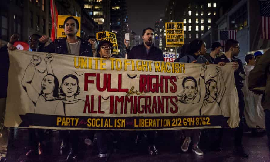 Anti-Trump protesters demonstrate in reaction to the US presidential election results in 2016.