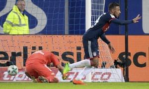 Bayern Munich's Corentin Tolisso celebrates after scoring against Hamburg.