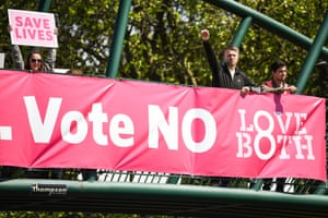 Anti-abortion campaigners on a bridge in Dublin