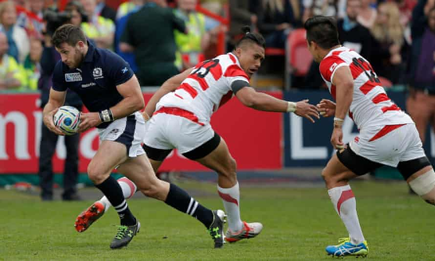 Tommy Seymour collects an interception and streaks clear to score Scotland's third try in their route of Japan at Kingsholm.
