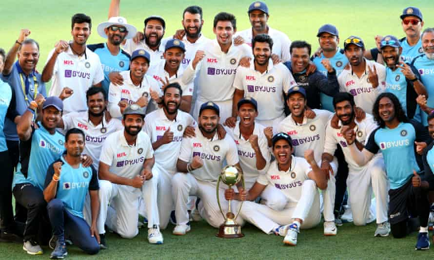 India celebrate their Test series win in Australia after victory at the Gabba in January