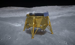 An artist's impression of the Beresheet lander on the lunar surface.