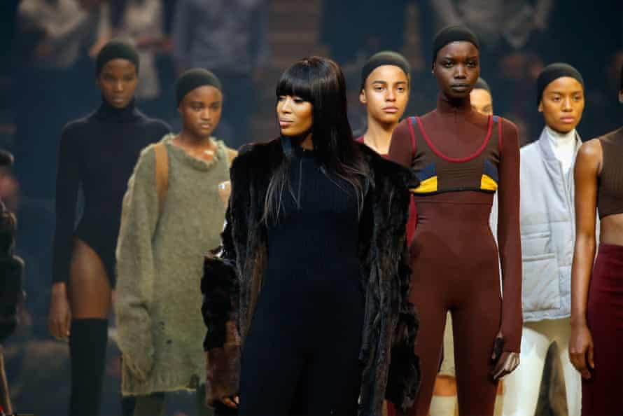Model Naomi Campbell appears onstage during Kanye West Yeezy Season 3 in February.