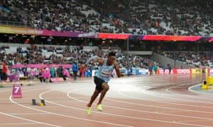 Isaac Makwala of Botswana runs a solo heat of the men's 200m following his unfortunate exclusion from the heats and the 400m final.