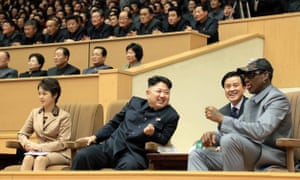 North Korean leader Kim Jong-Un (centre), his wife Ri Sol-Ju (left) and former US basketball star Dennis Rodman (right) watching a basketball game in Pyongyang in 2014.