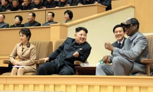 Dennis Rodman chatting with his good friend, Kim Jong Un