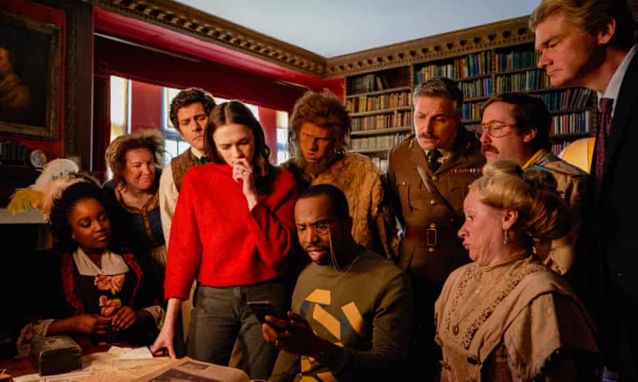Young, haunted and broke ... Alison (Charlotte Ritchie, in red) and Mike (Kiell Smith-Bynoe) with their deceased housemates in Ghosts. Photograph: Steven Peskett/BBC/Monumental Television