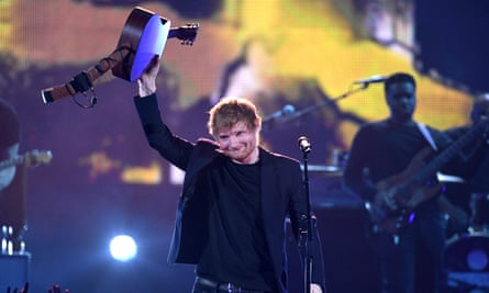 Ed Sheeran performing at the 2017 iHeartRadio Music Awards in California.