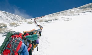 A line of climbers on the Lhotse Face, Mount Everest.