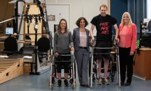 To go with Nicola Davis story about paraplegics walking again with spinal implants. Attached is a high resolution image of the two participants who are stepping independently, along with Dr. Angeli and Dr. Harkema.  Kelly Thomas, Claudia Angeli, Ph.D., Jeff Marquis and Susan Harkema, Ph.D.  Photo courtesy University of Lousiville