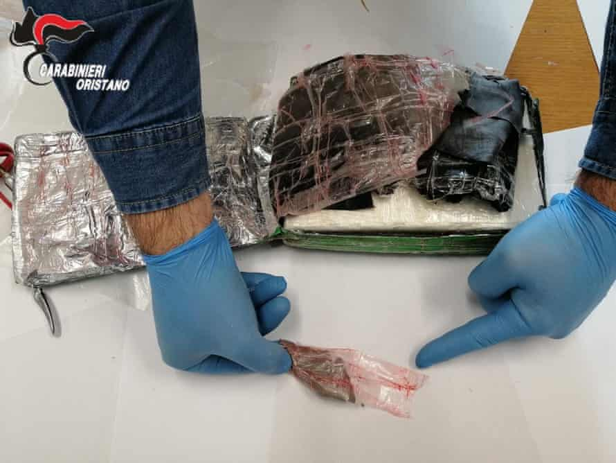 A suitcase full of cocaine that fell from a plane in Sardinia