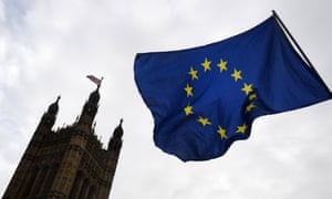 An EU flag flying outside the Houses of Parliament.