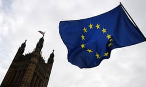 The EU flag outside parliament in London.