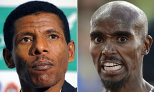 Mo Farah (right) went public with his grievances after telling Haile Gebrselassie via text: 'Know that I am not responsible for what I say during the press conference in London'.
