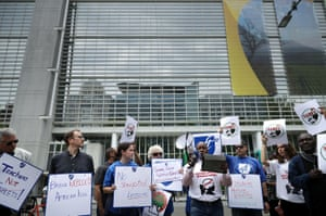 Demonstrators protest against the World Bank's funding of Bridge International Academies in Africa and Asia