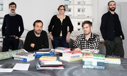 Space detectives … leading lights at London's Centre for Research Architecture – from left, Lorenzo Pezzani, Eyal Weizman, Susan Schuppli, Alon Schwabe and Daniel Fernández Pascual.