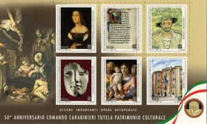 The stamps commemorate the works of art found by the carabinieri's Command for the Protection of Cultural Heritage since it was established in 1969.