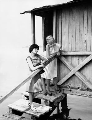 Varda at the Venice Film Festival with Corinne Marchand in 1962